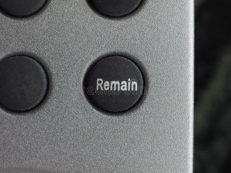 Restent le bouton (Brexit photographie stock libre de droits