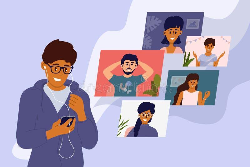 Rester à la maison, passer des appels vidéo et rencontrer des amis en ligne images stock