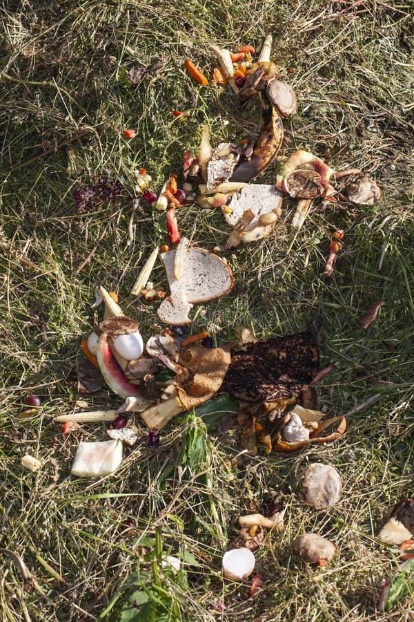 Rester av mat för kompost, bästa sikt royaltyfri foto