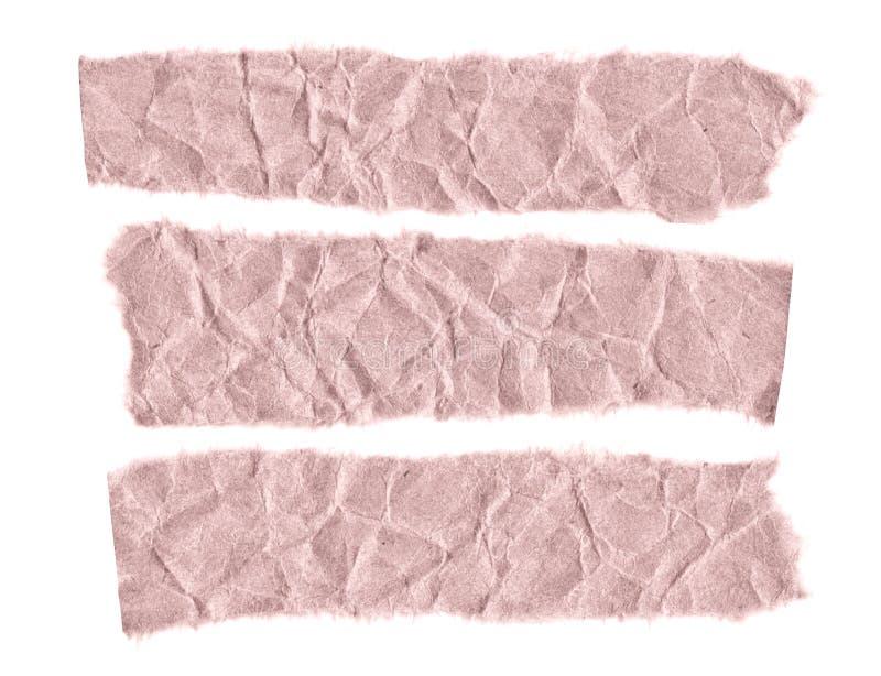 Rester av papper på en vit bakgrund Isolerat på vit Klar ram för designen, mall royaltyfri fotografi