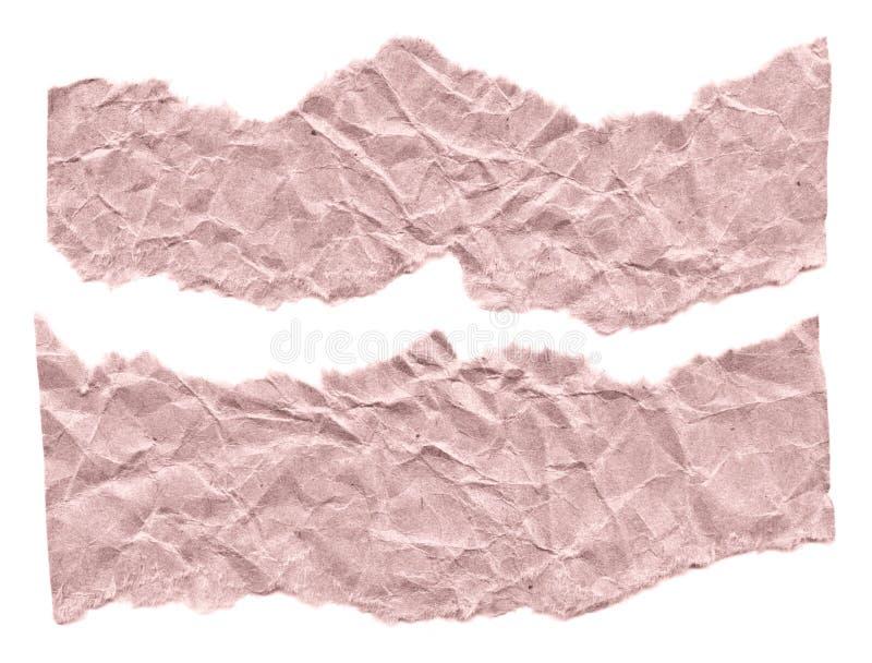 Rester av papper på en vit bakgrund Isolerat på vit Klar ram för designen, mall arkivbild