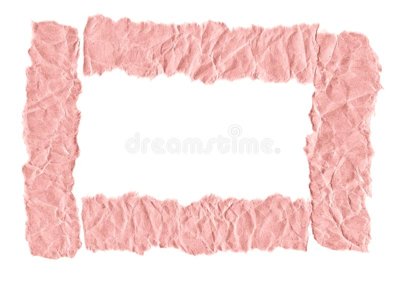Rester av rosa papper p? en vit bakgrund Isolerat p? vit Klar ram f?r designen, mall arkivfoton