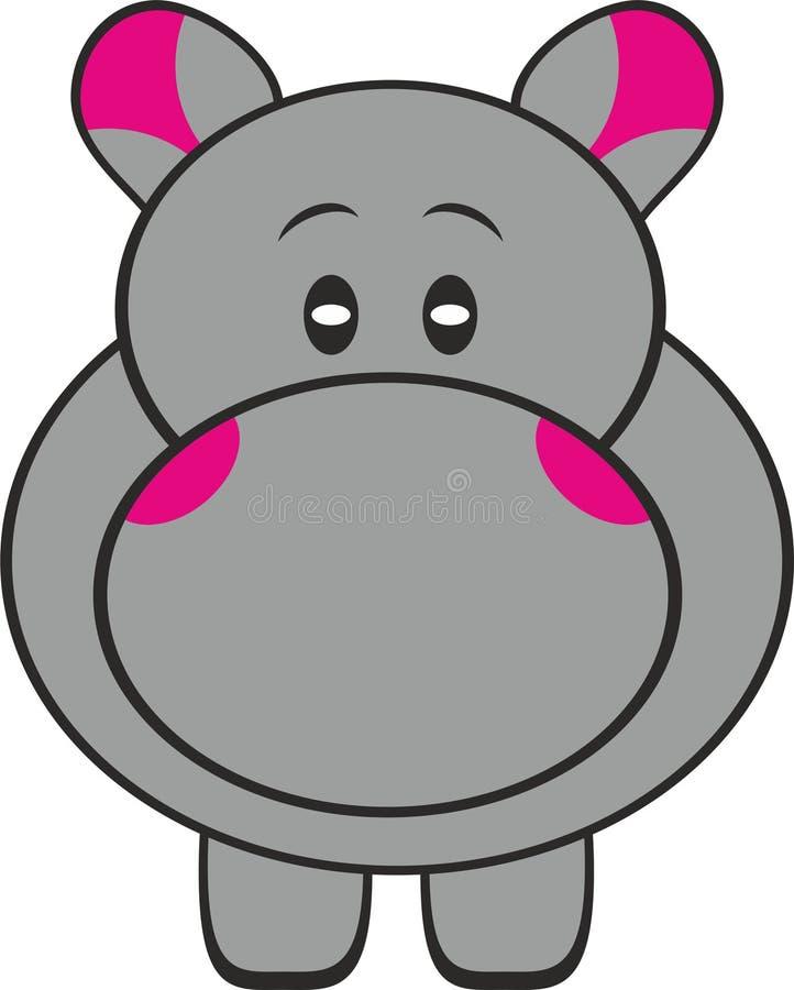 Rester Gray Hippopotamus Illustration mignon illustration de vecteur