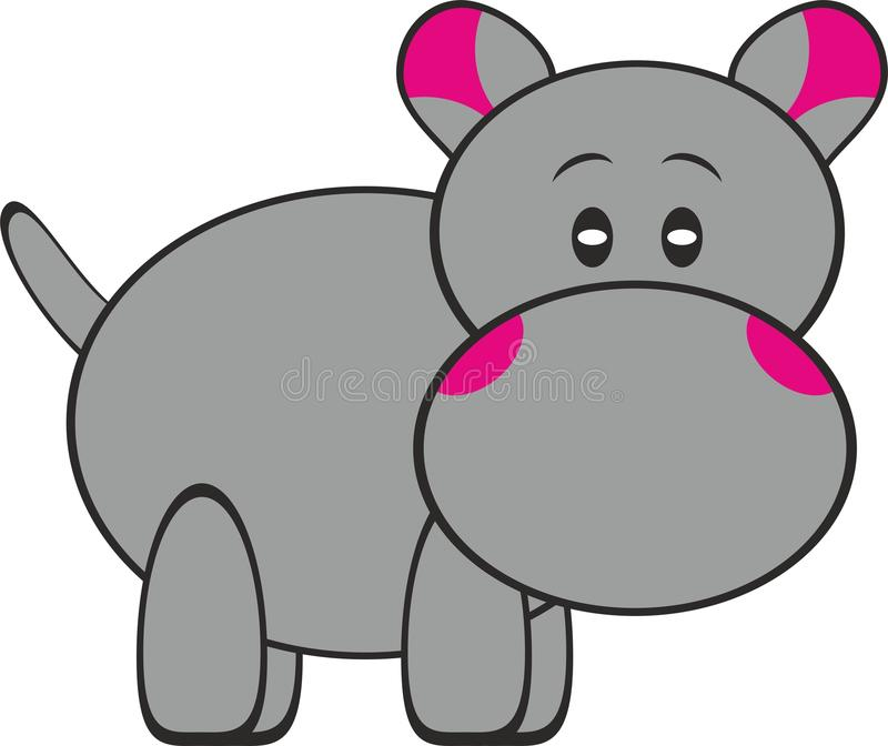 Rester Gray Hippopotamus Illustration mignon illustration libre de droits
