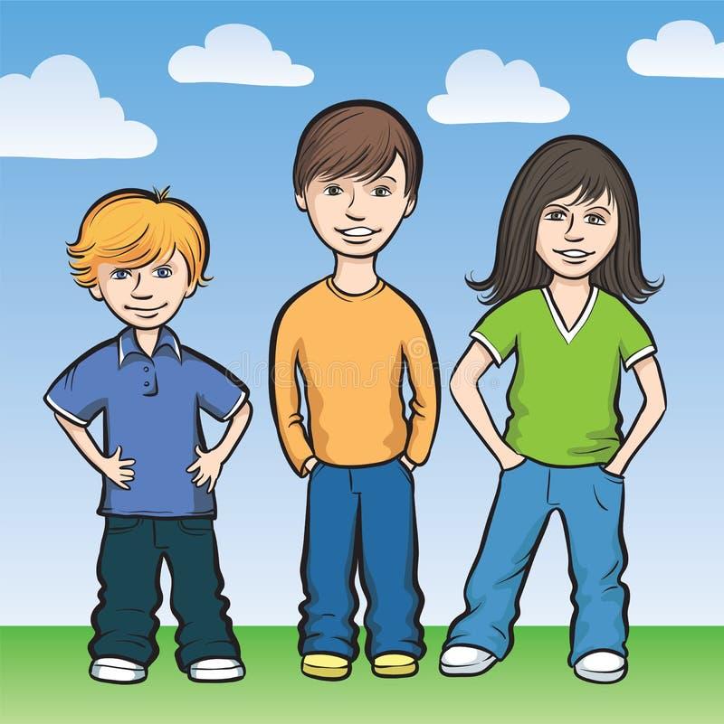 Rester heureux de trois gosses illustration de vecteur
