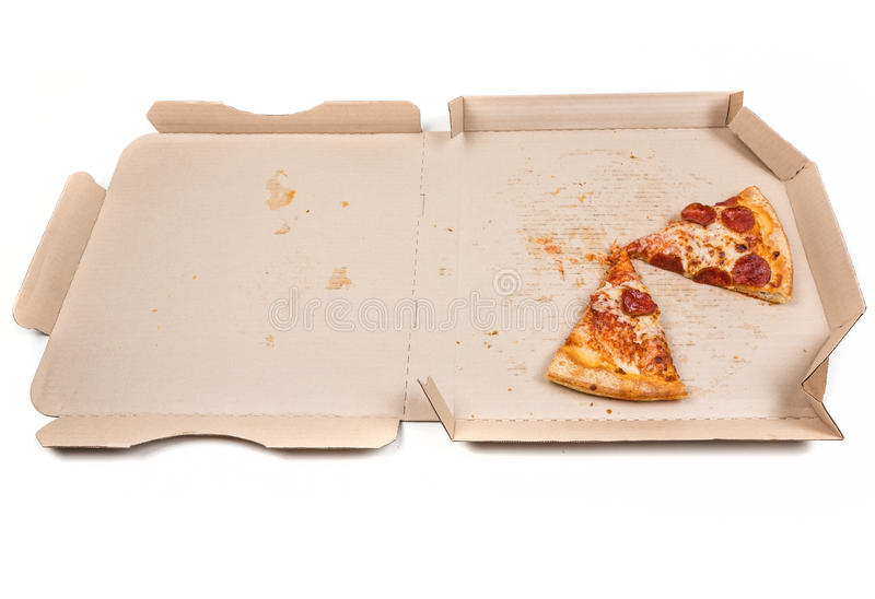 Rester pizza i ask arkivbilder