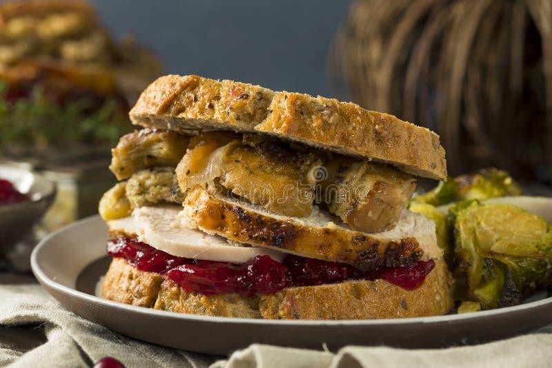 Rester Turkiet för hemlagad tacksägelse smörgås royaltyfria foton