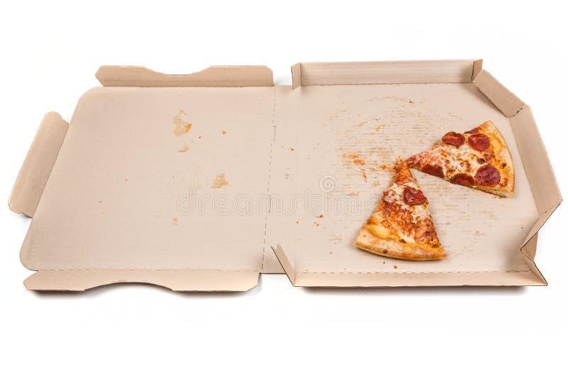 Resterende pizza in doos stock afbeeldingen