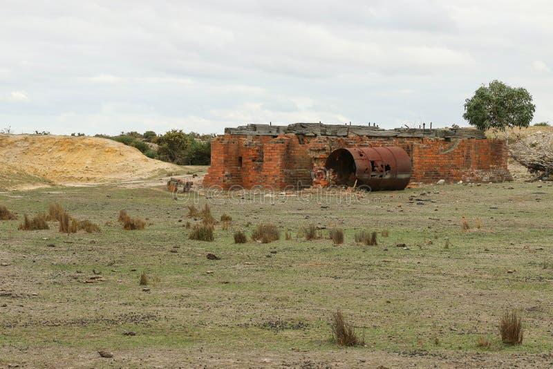 Restes d'un site d'extraction de l'or dans l'Australie photos libres de droits