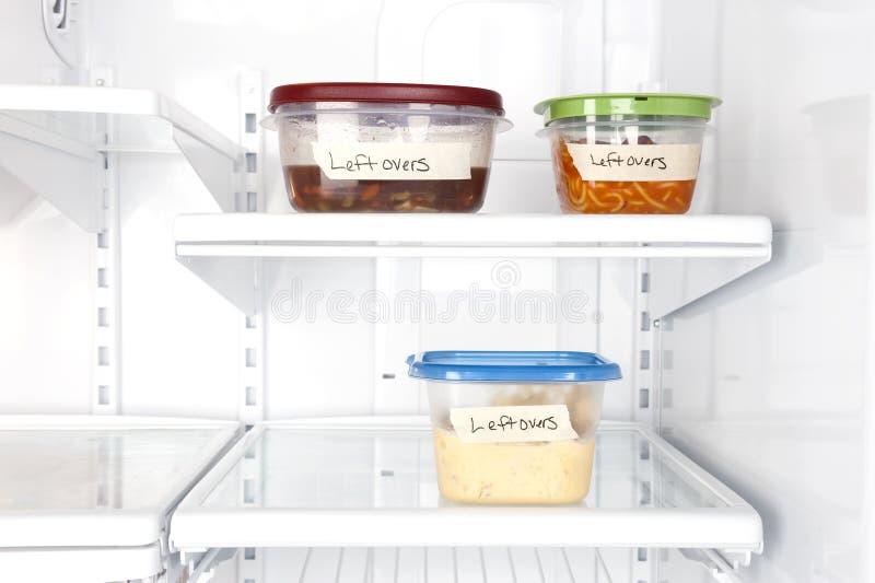 Restes dans le réfrigérateur photos stock