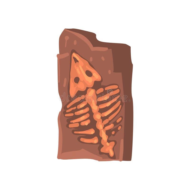 Restes de l'animal préhistorique dans la terre, illustration archéologique de vecteur d'objet façonné illustration libre de droits