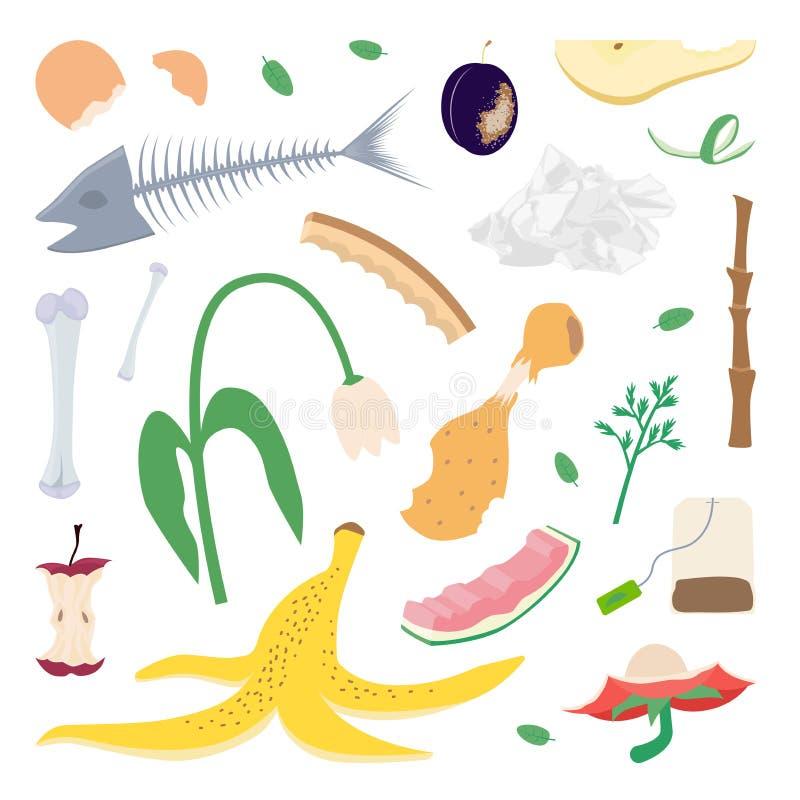 Restes de nourriture et déchets de jardin illustration stock