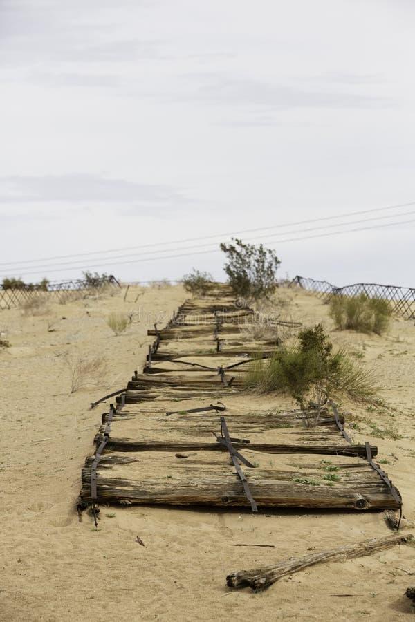 Restes de route historique de planche près de Yuma photo stock