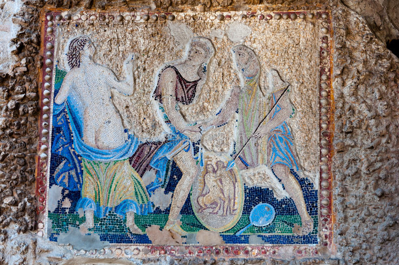 Restes des mosaïques à l'intérieur de casa di Apollo à Pompeii Italie Pompe photos stock