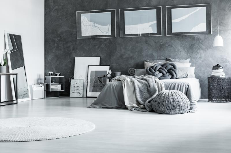 Restful black and white bedroom stock photography