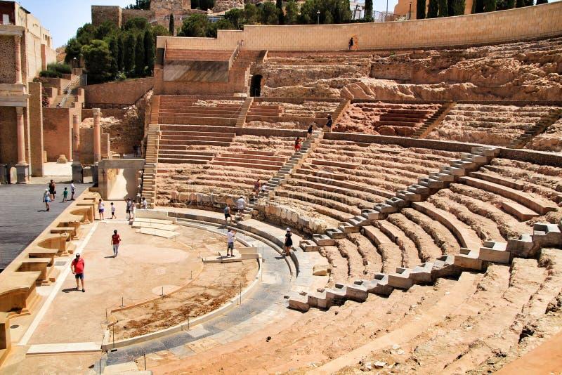 Resti archeologico dell'anfiteatro romano di Cartagine fotografie stock libere da diritti