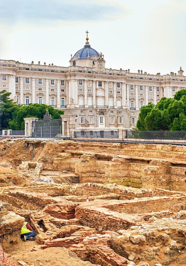 Resti dei seminterrati del Palazzo dei Godoy Madrid, Spagna fotografia stock