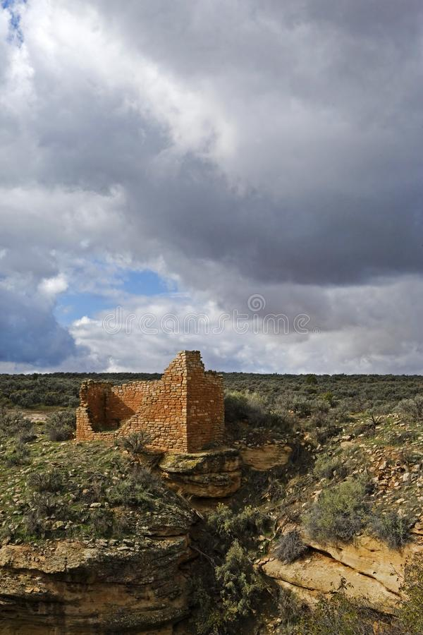 Resti di costruzione antica al monumento nazionale di Hovenweep immagine stock libera da diritti