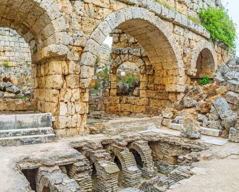 Resti di Roman Baths in Perge fotografia stock libera da diritti