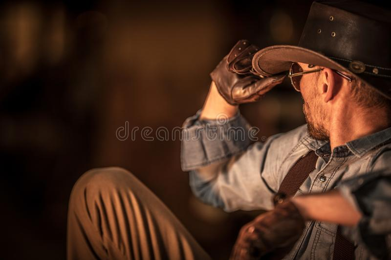 Resting American Cowboy stock photography