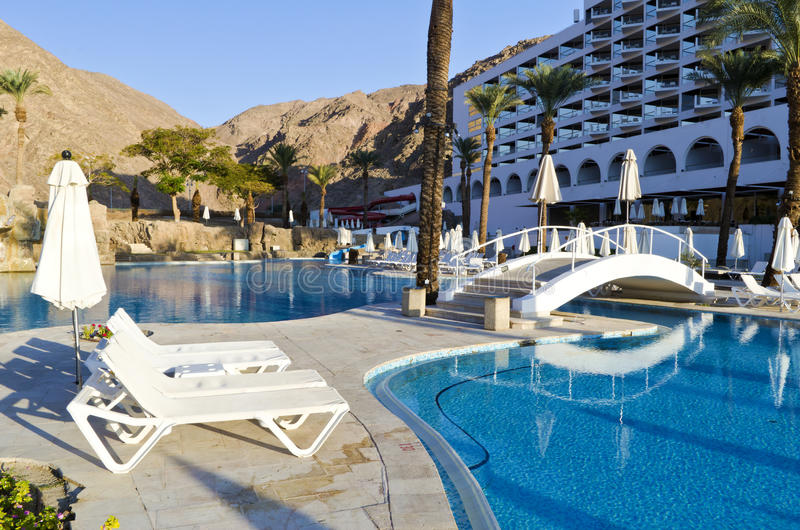 Resting area near resort hotel, Eilat, Israel. The shot was taken at the southern beach of Eilat - famous resort city of Israel royalty free stock image