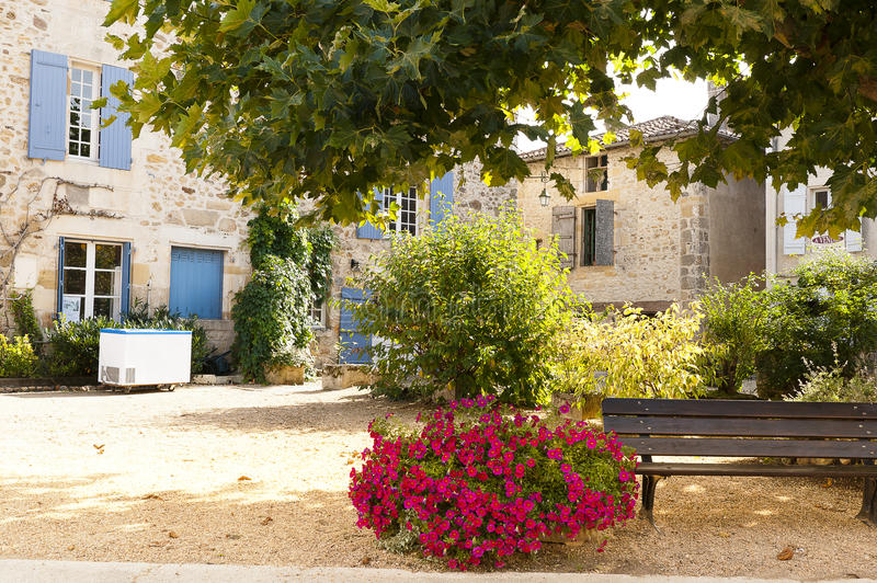 Resting area Saint Jean de Cole France. Small resting area in the town of Saint Jean de Cole, Dordogne France stock photo