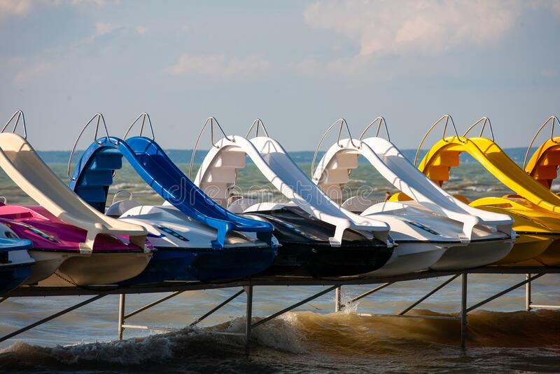 Resting pedal boats at lake Balaton in Hungary stock photos