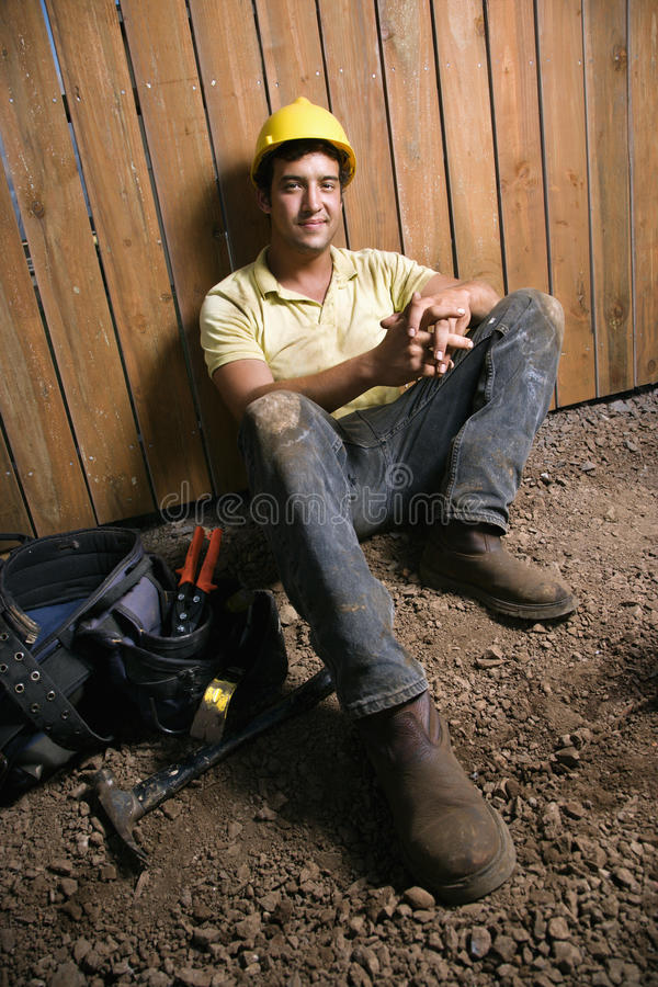 Resting Construction Worker stock photo