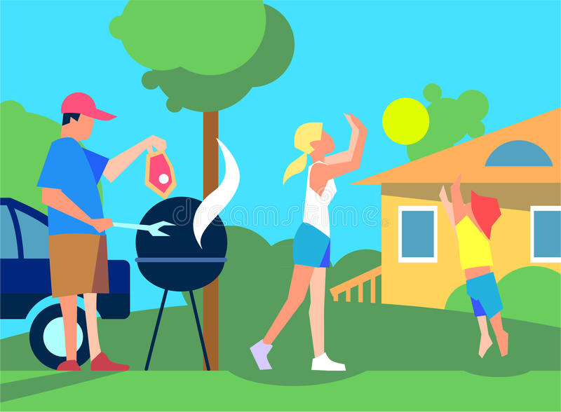 Resting with Family on Back Yard Flat Style Vector stock illustration