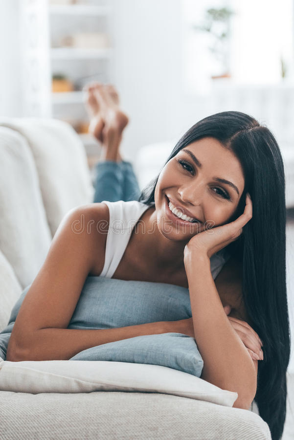 Resting at home. stock images