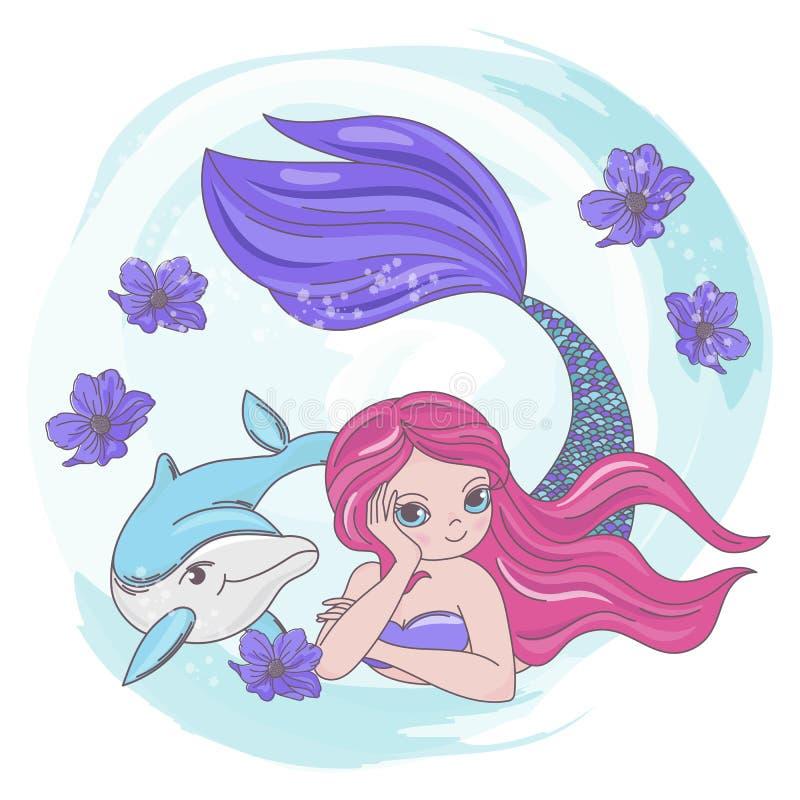Free RESTING MERMAID Dolphin Sea Cartoon Vector Illustration Set Royalty Free Stock Photo - 153474795
