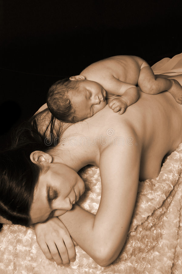 Resting mother and child stock image