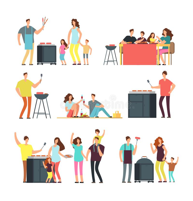 Resting people on bbq picnic. Active family and kids playing outdoor. Cartoon vector characters isolated. Family eat food, picnic and barbecue illustration royalty free illustration