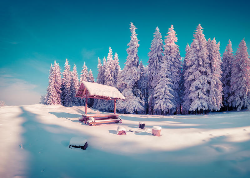 Resting place with alcove in the snowy mountain forest in sunny. Morning. Instagram toning royalty free stock images