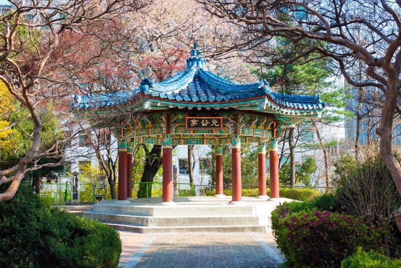 Resting place and an octagonal pavilion , Seoul , South Korea. Resting place and an octagonal pavilion at Kukkiwon taekwondo school,Yeoksam-dong, Seoul , South stock image