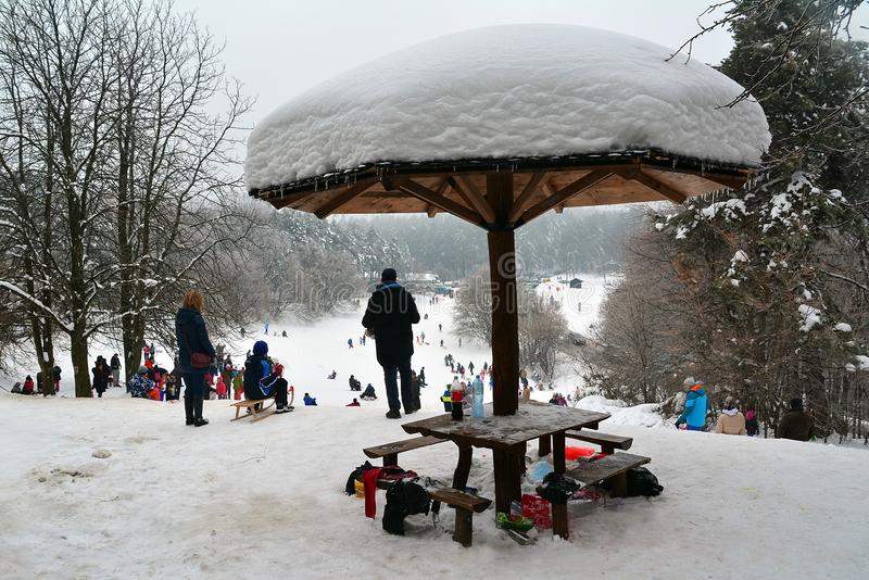 Resting place for people as snow mushroom royalty free stock photo