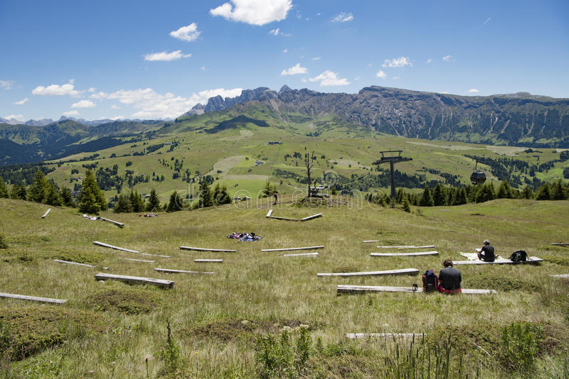 Resting place for walkers in Dolomites stock photos