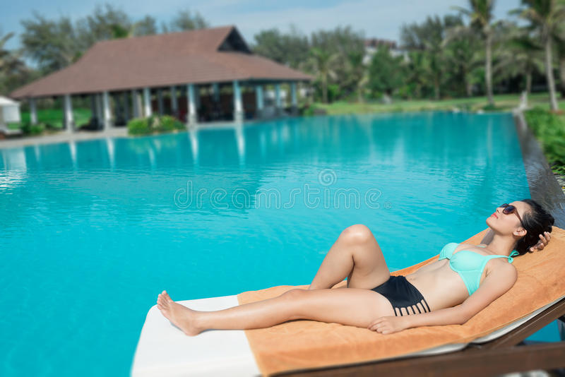 Resting in the pool royalty free stock images