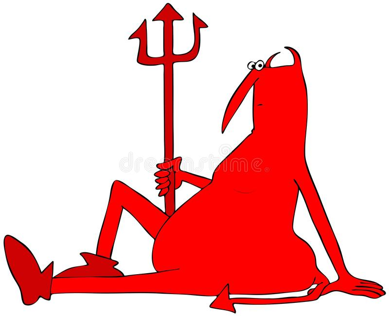 Resting red devil sitting on the ground royalty free illustration