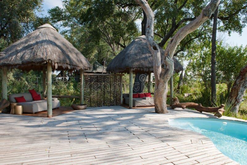 Pool and resting area of safari lodge, Okavanga Delta, Botswana stock image