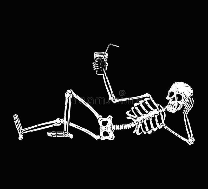 RESTING SKELETON WITH COCKTAIL CHEERS. HAPPY HALLOWEEN DECORATION BANNER BLACK BACKGROUND stock illustration