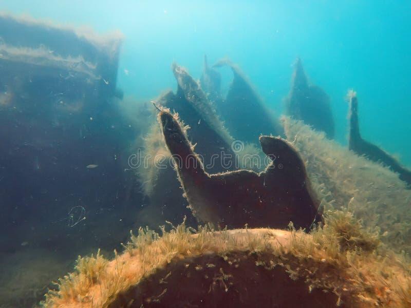 Restna av skeppet Kolasin, som sjönk i 1971 nära kusten arkivbild