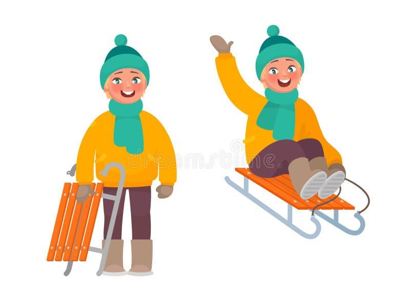 Resto activo en invierno El muchacho está montando un trineo stock de ilustración