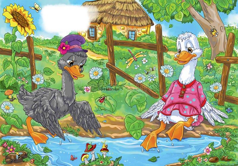 Resto de dois gansos pelos desenhos animados da poça ilustração stock