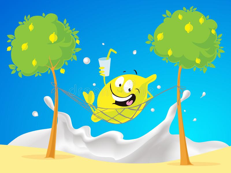 Resto del carácter del limón en hamaca en la playa por la leche que salpica el mar - vector libre illustration