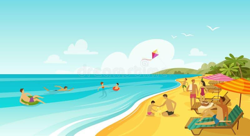 Resto della gente sulla spiaggia del mare Vacanza, insegna di viaggio Illustrazione di vettore del fumetto illustrazione vettoriale