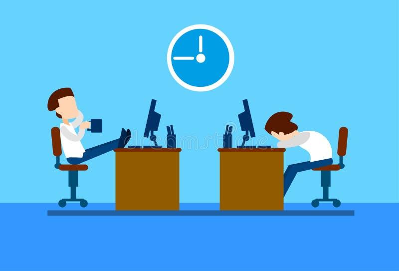 Resto do homem de negócio dos trabalhadores de escritório na ruptura, computador de assento da mesa, café da bebida, sono ilustração do vetor