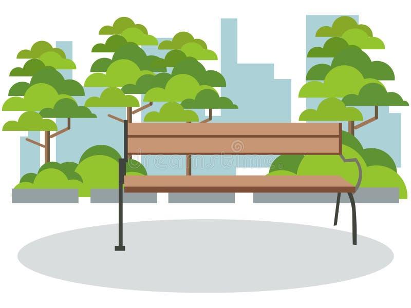 Resto do parque do fundo, banco No vetor liso dos desenhos animados minimalistas do estilo ilustração stock