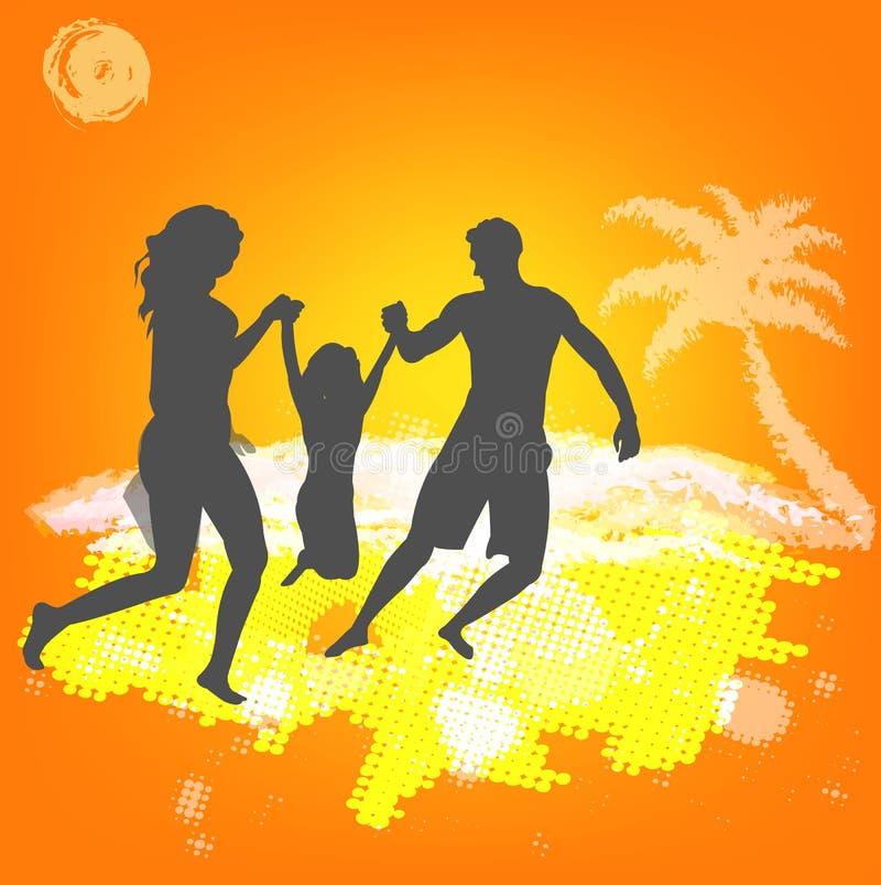 Resto feliz do verão da família ilustração do vetor