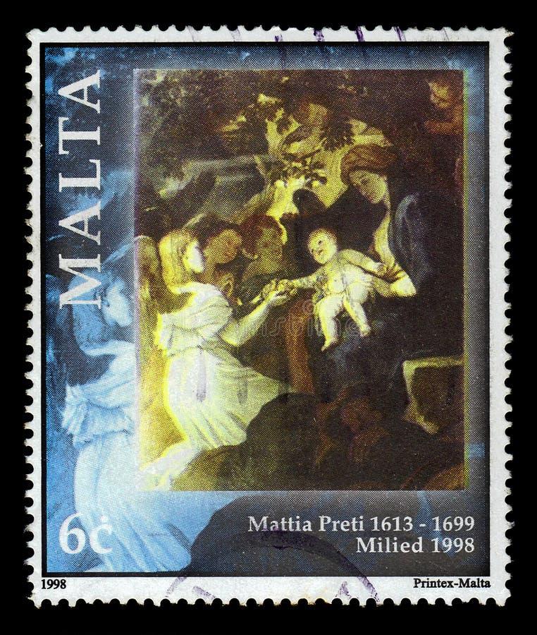 Resto na maneira a Egito, pintando pelo pintor italiano Mattia Preti imagens de stock royalty free